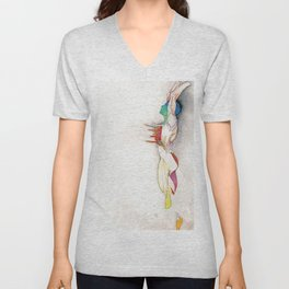 Soar, male abstract anatomy, NYC artist Unisex V-Neck