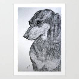 Dachshund Pet Portrait Drawing Art Print