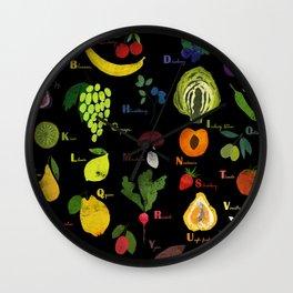 English fruit and vegetables alphabet on dark Wall Clock