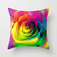 Rainbow Rose Colourful Background Throw Pillow