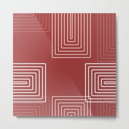Baesic Retro Rectangles Watermelon Metal Print