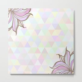 Hand drawn illustration with ornament love with triangles backdrop. Graphic colorful pastel  Metal Print