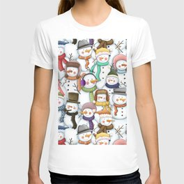 Happy Snowmen Pattern T-shirt