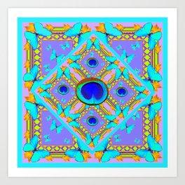 Pastel Turquoise Butterflies & Lilac Pattern Art Print