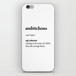 Ambitchous black and white contemporary minimalism typography design home wall decor bedroom iPhone Skin