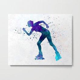 Woman in roller skates 06 in watercolor Metal Print