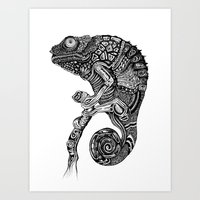 chameleon Art Prints featuring Chameleon  by Rebexi