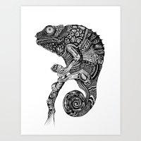 chameleon Art Prints featuring Chameleon  by Ejaculesc