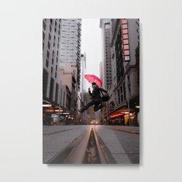 Umbrella Jump Metal Print