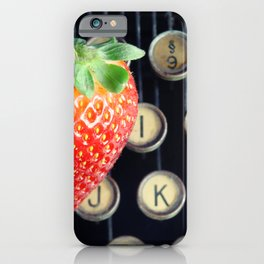 Strawberry typewriter keys iPhone Case