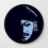 metal gear solid Wall Clocks featuring Big Boss (Snake / metal gear solid) by TxzDesign