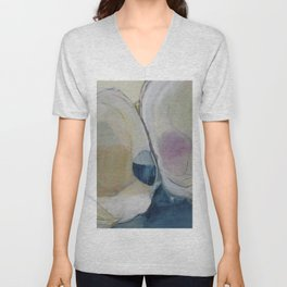 quahog shells - abstract painting in modern fresh colors navy, pink, cream, white, and gold b Unisex V-Neck