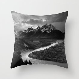 Ansel Adams The Tetons and the Snake River Throw Pillow