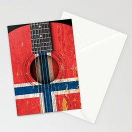 Old Vintage Acoustic Guitar with Norwegian Flag Stationery Cards
