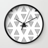 triangle Wall Clocks featuring Triangle by Emmanuelle Ly