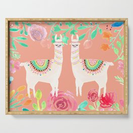 Llama in a floral frame Serving Tray