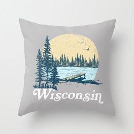 Vintage Wisconsin Dock on a Lake Throw Pillow