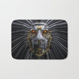 Hear Me Roar / 3D render of serious metallic robot lion Bath Mat