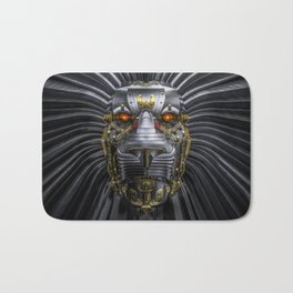 Hear Me Roar / 3D render of serious metallic robot lion Bath Mat