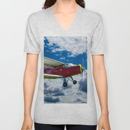 Single Propeller Plane Unisex V-Neck