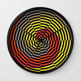Red Yellow Blue Spiral Wall Clock