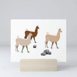Lamas are going for a walk in Peru Mini Art Print