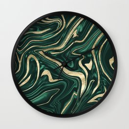 Emerald Green Black Gold Marble #1 #decor #art #society6 Wall Clock