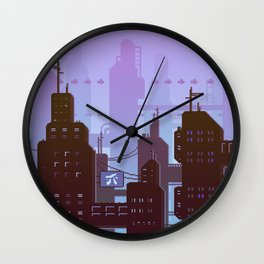 Future night skyline Wall Clock