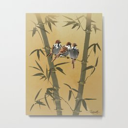 Three Sparrows In Bamboo Tree Metal Print