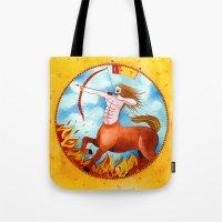sagittarius Tote Bags featuring Sagittarius by Sandra Nascimento