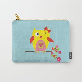 Cute Yellow Owl - Pink Flowers Illustration Carry-All Pouch
