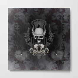 Awesome skull with crow, black and white Metal Print