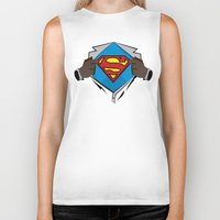 superman Biker Tanks featuring Superman  by Wave Sports