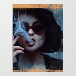Marla Singer Smokes A Cigarette Behind Sunglasses - Fight Poster