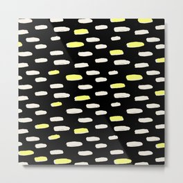 black with pressed linen & yellow /geometric series Metal Print