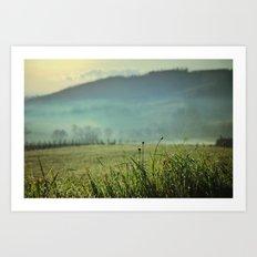 Misty morning in Tuscany Art Print