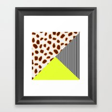 Cheetah Leo stripe and neon Framed Art Print