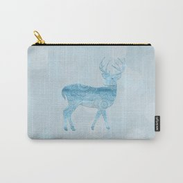 Aqua Blue Christmas Deer Carry-All Pouch