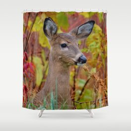"""""""Deer In The Fall Foliage"""" by S. Michael Shower Curtain"""