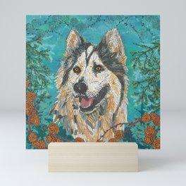 Woodland Husky Mini Art Print