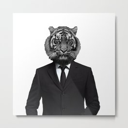 Suited Tiger Metal Print