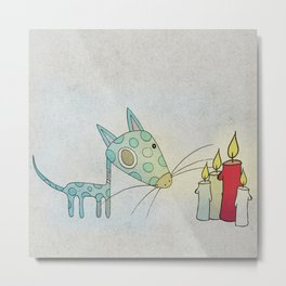 A Small Creature and a Candle Metal Print
