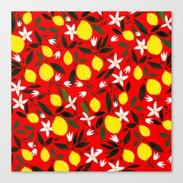 Lemons Red Canvas Print