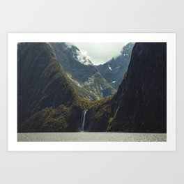 Milford Sound Waterfall Art Print