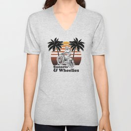 Sunsets & Wheelies Unisex V-Neck