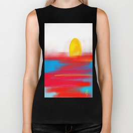 Sketchy Sun and Sea. Sunset and Sunrise Sketch Biker Tank