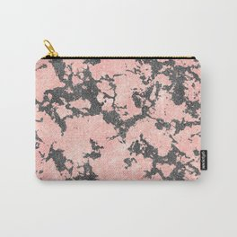 Trendy Rose Gold & Gray Glitter Marble Image Carry-All Pouch