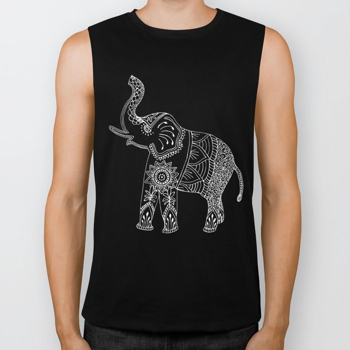 Elephant doodle in black and white. Biker Tank