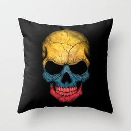 Dark Skull with Flag of Colombia Throw Pillow