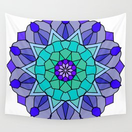 Flower power mandala in bold colors Wall Tapestry